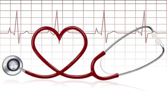 Der Schlauch eines Stethoskops bildet ein Herz