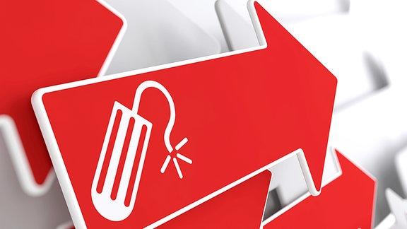 Ein roter Pfeil mit einem Tampon-Symbol.