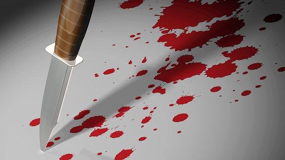 Illustration eines Messers, das an einem Tatort steckt.