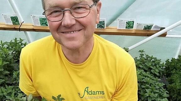 Kräuter-Gärtnermeister Veith Adam mit frischen Blättern und Blüten für den Marios-Genüsse-Kräutertee