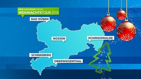 Karte der SACHSENSPIEGEL-Weihnachtstour 2018