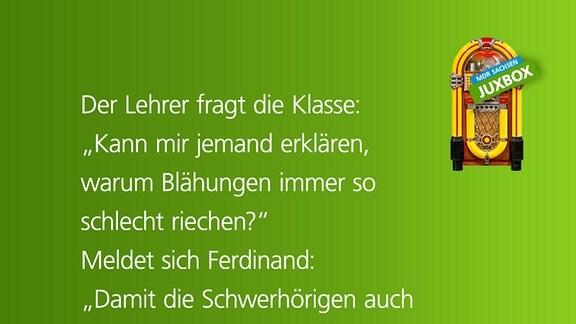 """""""Der Lehrer fragt die Klasse: """"Kann mir jemand erklären, warum Blähungen immer so schlecht riechen?"""" Meldet sich Ferdinand: """"Damit die Schwerhörigen auch etwas davon haben."""" von Klaus Pönisch aus Marienberg"""