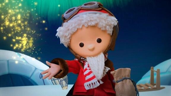 Das Sandmännchen fährt mit seinem Schneemobil zu Kindern an den nördlichen Polarkreis und streut Traumsand.