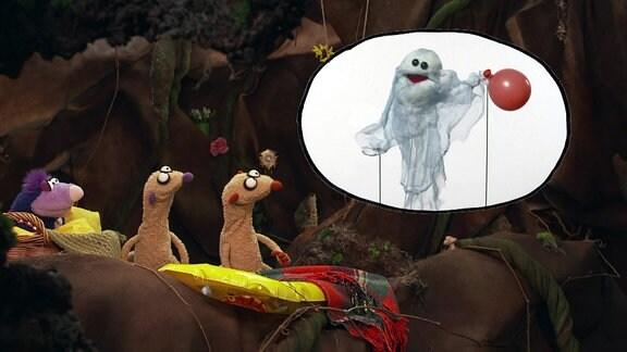 Mauli Maulwurf, Jan und Henry und GEspenst mit Luftballon