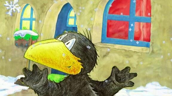 Rabe Socke freut sich, dass es schneit.