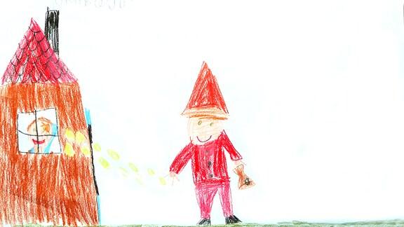 Eine Kinderzeichnung. Der Sandmann steht neben seinem Haus.