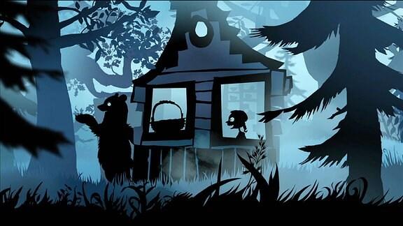 Das kleine Mädchen Mascha im Haus des Bären.