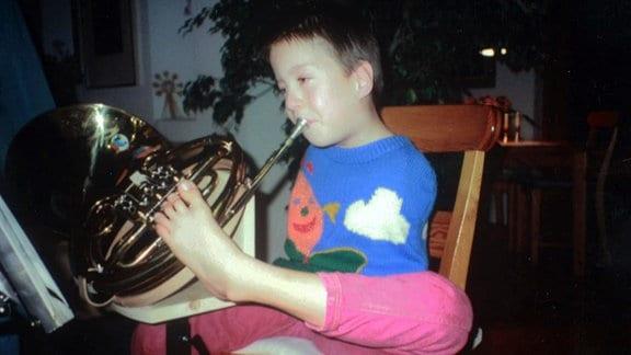 Der Hornist Felix Klieser als Kind