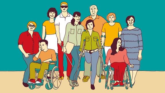 Gruppe von Menschen mit Behinderungen