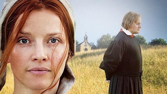 Katharina von Bora (Karolina Schuch) im Portait. Martin Luther (Devid Striesow) steht im Hintergrund in einem Feld.