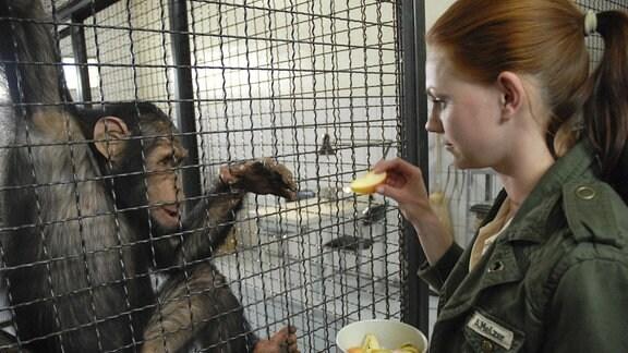 Schimpanse Jimmy leidet unter der Trennung von Gina. Anett (Anna Bertheau) versucht, ihn mit Leckereien aufzuheitern.