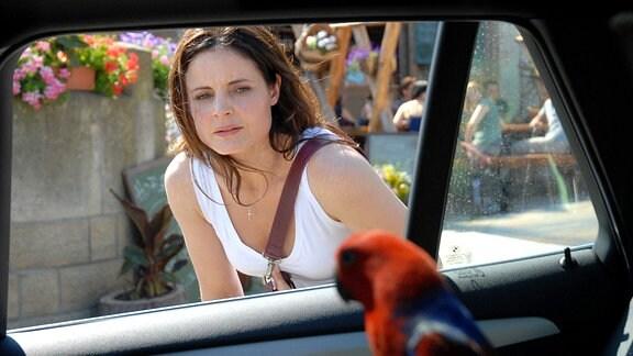 Tierärztin Dr. Susanne Mertens (Elisabeth Lanz) sorgt sich um einen nicht artgerecht transportierten seltenen Papagei. Was macht das Tier in einem Auto im Elbsandsteingebirge?
