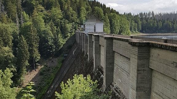 Staumauer der Eckertalsperre