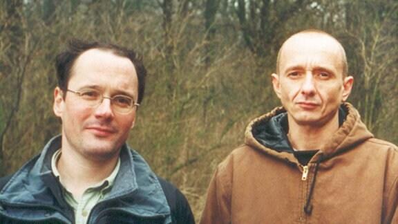 Grenzer (links) & Flüchtling (rechts) Holger Jancke & Thomas Rataj.