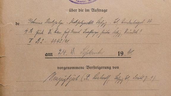 1. Versteigerungsakte aus dem Bestand von Hans Klemm, Auftraggeber ist die Gestapo