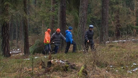 Familie Drezek holt einen Weihnachtsbaum aus dem Wald.