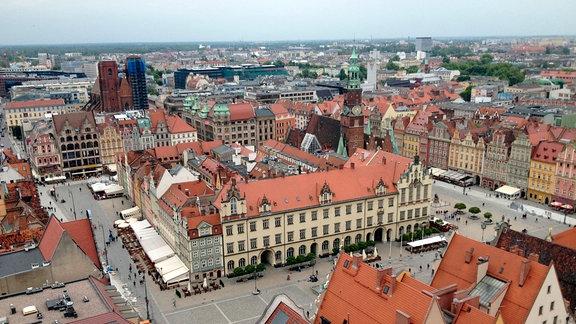 Blick auf den Großen Ring (Rynek) in Breslau.