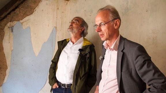 Wolfgang Zweigler (li.), Stiftung Krämerbrücke, und Franz Bruns (re.), Brückenarchitekt.