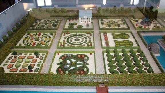 Der ehemalige prunkvolle Renaissance-Garten als Modell