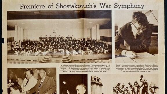 Zeitungsausschnitt Amerika War Sinfonie Shostakovich