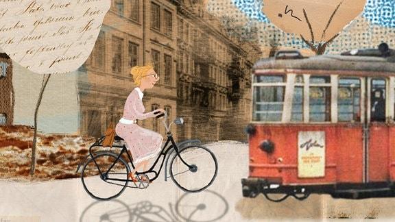 In einer städtischen Umgebung mit Straßenbahn (rechts) fährt Rosa (Mitte) Rad.