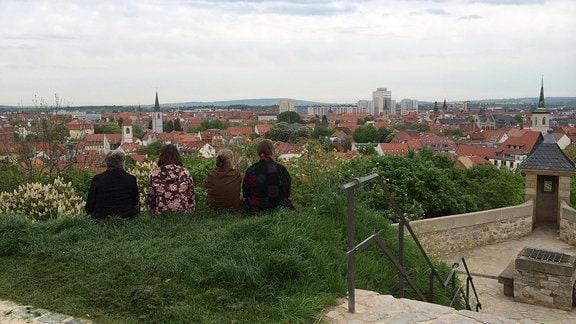 Blick auf Erfurt vom Petersberg aus.