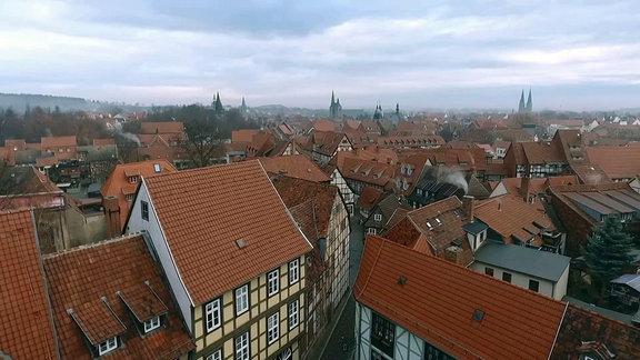 Blick auf die Dächer der Quedlinburger Innenstadt