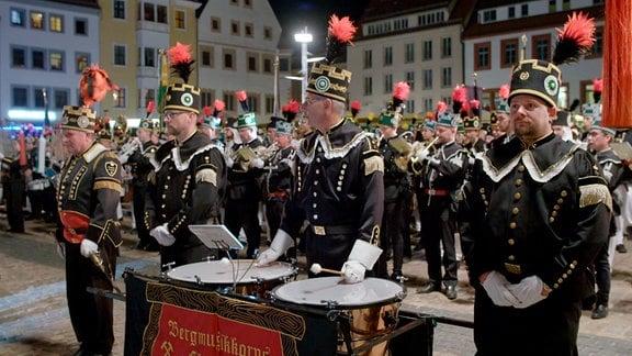 Großer Sächsischer Bergmännischer Zapfenstreich am 14.09.2019 anlässlich der Ernennung der Montanregion Erzgebirge zum Weltkulturerbe.