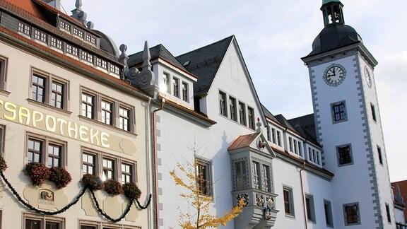 Das Rathaus von Freiberg am Obermarkt im Herzen der Altstadt, in heutiger Gestalt aus der Zeit des zweiten Berggeschreys (15. Jahrhundert) stammend.