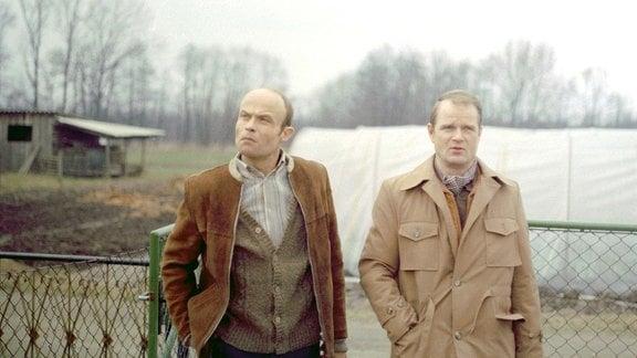 Bernd Broske (Dieter Mann, re.) und Wilhelm Gruak (Volkmar Kleinert, li.) auf der Flucht.