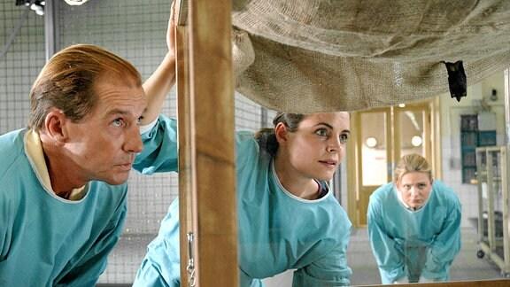 Susanne Mertens (Elisabeth Lanz, M.) und Pflegerin Anett (Anna Bertheau, r.) begutachten Vampirfledermäuse, die Zoodirektor Dr. Fährmann (Michael Lesch, l.) auf einer Tierauktion für den Zoo ersteigert hat.