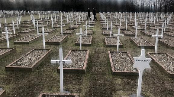 Mehr als 1.000 Grabzeichen für die Opfer des Massakers von Gardelegen.