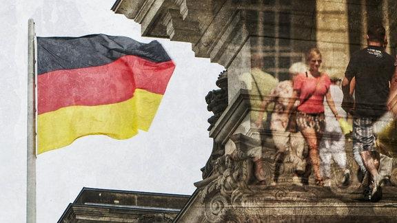 Fotomontage: Zwei Menschen begegnen sich. Im Hintergrund ein Detail des Bundestages mit schwarz-rot-goldener Flagge.
