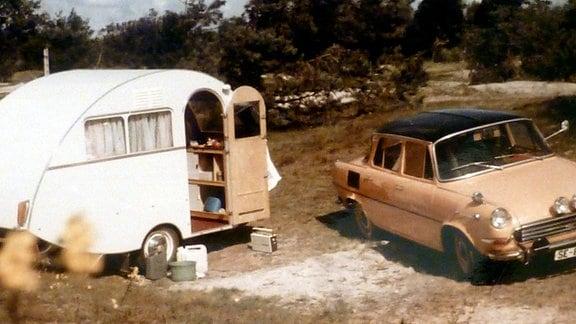 """Das """"Dübener Ei"""" der Familie Würdig in den 60er und 70er Jahren auf Reisen."""