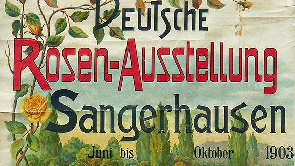 Plakat zur Eröffnung des Rosariums und des Rosenkongresses, 1903.