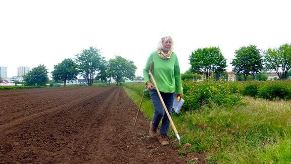 Annegret Rose misst ihr Feld aus, damit die Asternsetzlinge gepflanzt werden können.