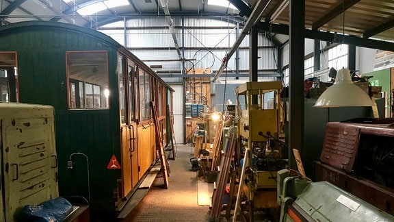 In der Werkstatt der Museumsfeldbahn am Lindenauer Hafen.