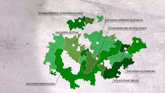 Karte der Thüringer Staaten, die sich 1920 vereinigt haben.