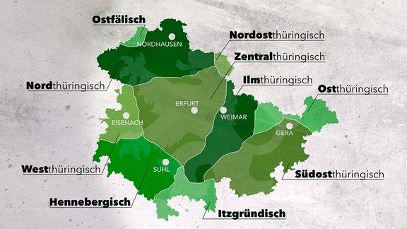 In Thüringen werden zehn verschiedene Dialekte aus drei deutschen Sprachgruppen gesprochen. Die Vielfalt ist eine Folge der Besiedlungsgeschichte.