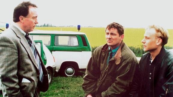 v.l.n.r.: Ehrlicher (Peter Sodann), Bulisch (Heinz Hoenig), Kain (Bernd Michael Lade).