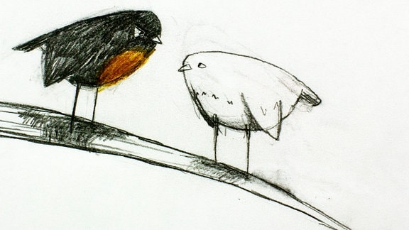 Ein Vogel verteidigt seinen Lieblingsast.