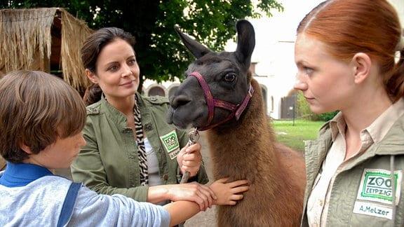 Lama Horst als Therapeut. Dr. Susanne Mertens (Elisabeth Lanz, M.) und ihre Assistentin Anett (Anna Bertheau, r.) hoffen, dass die Begegnung mit dem Tier dem traumatisierten David (Max Schmuckert, l.) helfen wird.