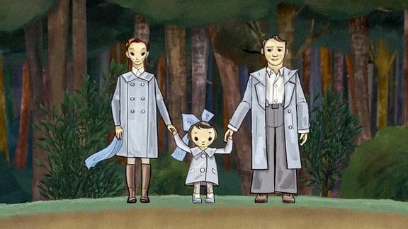 Ein gezeicjnetes Paar mit einem kleineren Kind steht vor einem Wald (schlichte Zeichnung),