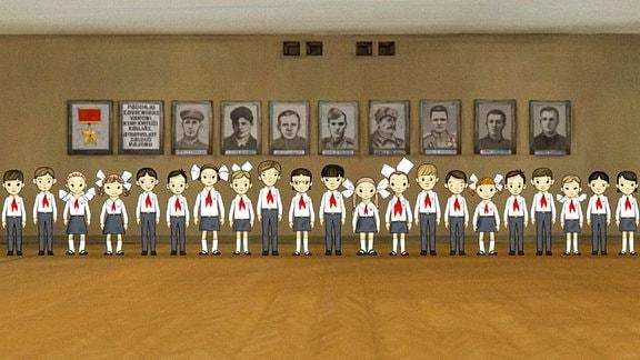 Eine Kindergruppe hat sich vor einer Wand in Linie augestellt. An der Wand hängen Porträts. (schlichte Zeichnung)