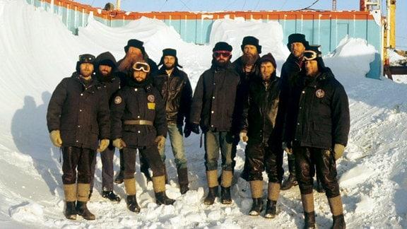 Die Polarforscher von der DDR-Antarktisstation Georg Forster im Oktober 1989