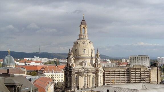 Die Frauenkirche zu Dresden - aufgenommen vom Hausmannsturm des Dresdner Schlosses.