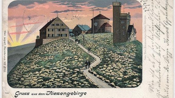 Eine Postkarte mit der Schneekoppe von vor 1914.