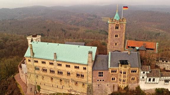 Blick auf die Wartburg von oben.