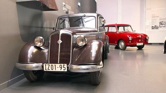 DKW F8 und Trabant Urtyp (AWZ P70) im August Horch Museum, Zwickau.