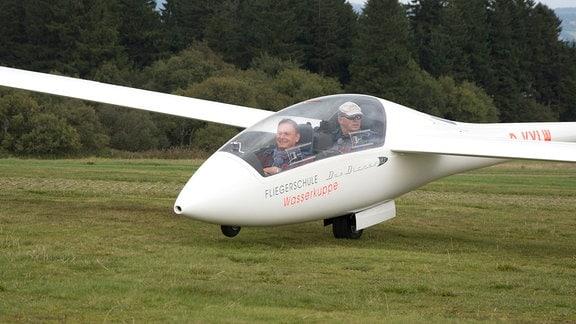 Moderator Axel Bulthaupt (li.) und Harald Jörges (Fluglehrer & Chef der Fliegerschule Wasserkuppe).